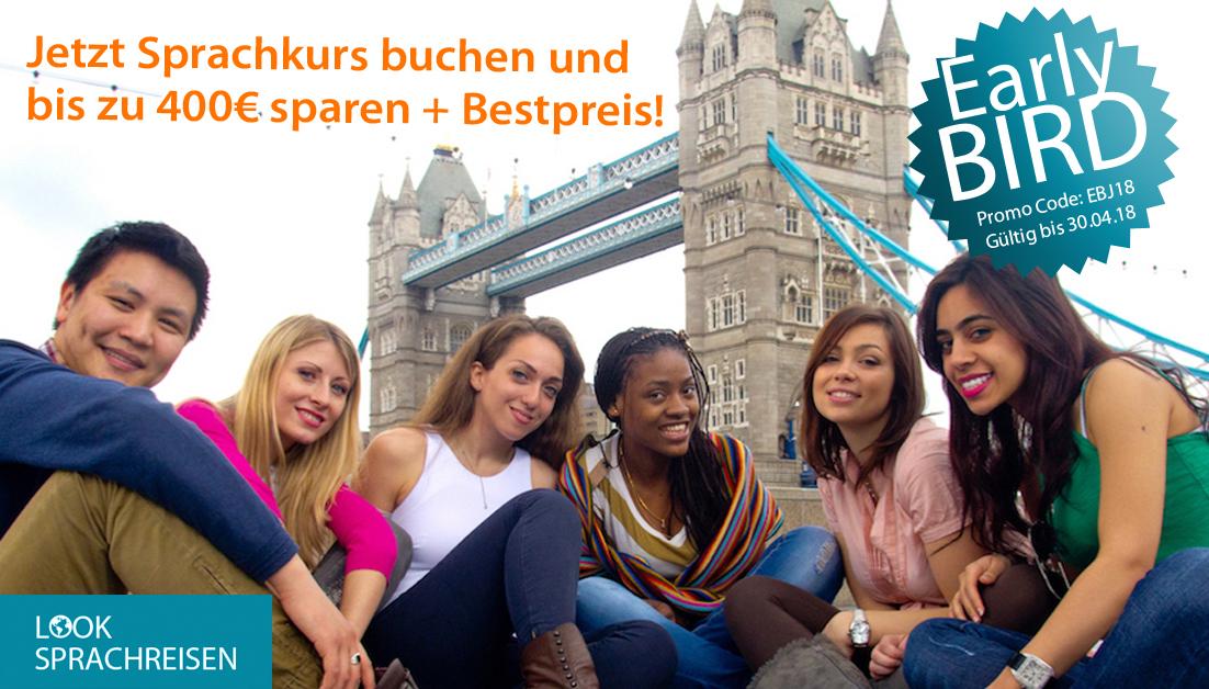 Frühbucher aufgepasst: Jetzt bis 30.04.18 Sprachreise buchen und bis zu 400€sparen!